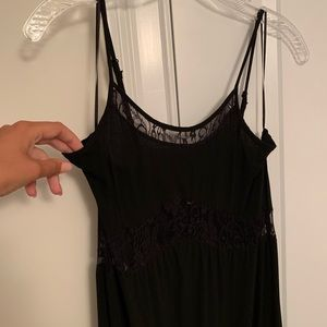 Black maxi dress with sheer lace detail